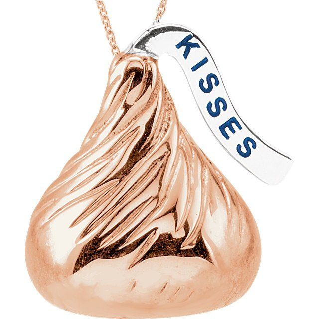 14kt Rose HERSHEY'S KISSES Flat Back 18  Necklace