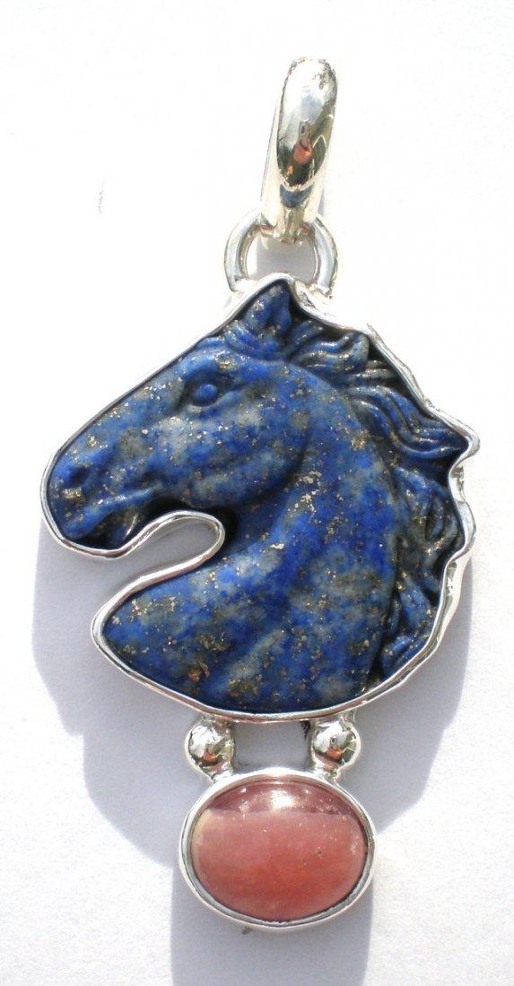 Lapis Horse and Rhodacrosite Pendant