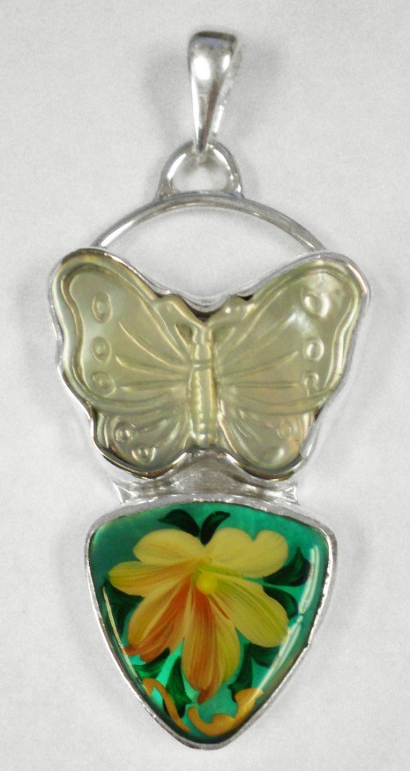 Mother of Pearl Butterfly and Russian Hand Painted