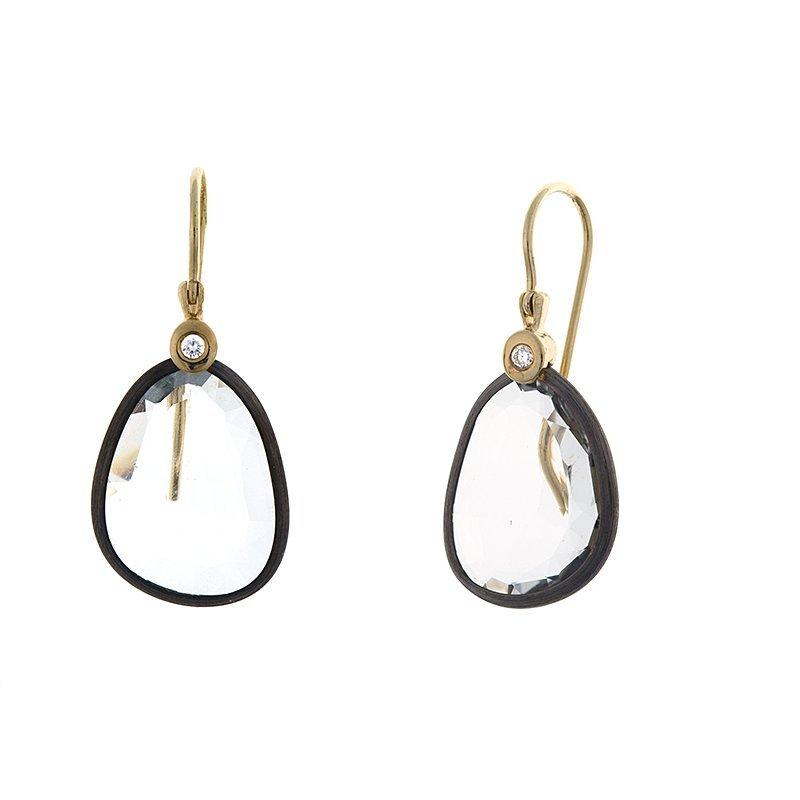 14KT Black Frame Earrings W. Topaz