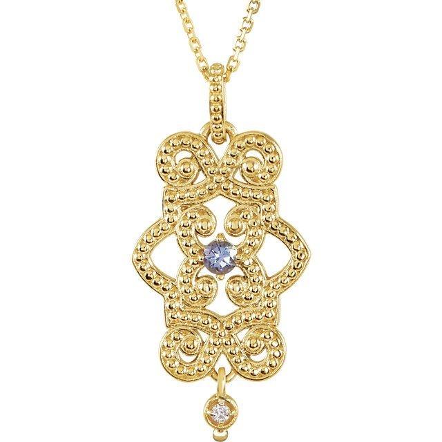 Sterling Silver Citrine & .015 CTW Diamond Granulated