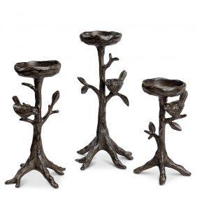 Twig & Bird Pillar Candleholder (set Of 3)