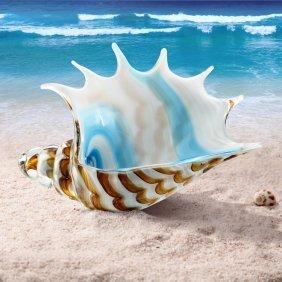 Art Glass Stripped Conch Shell