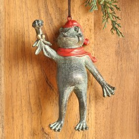 Holiday Collection Frog & Mistletoe Ornament