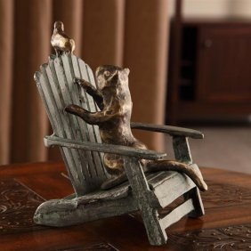 Talking Cat And Bird On Beach Chair