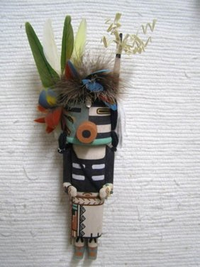 Old Style Hopi Carved Half Harvester Half Clown