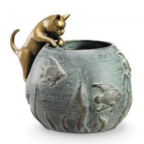 Cat And Fishbowl Candleholder