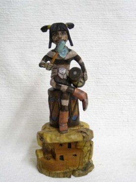 Native American Hopi Carved Clown Katsina Doll With