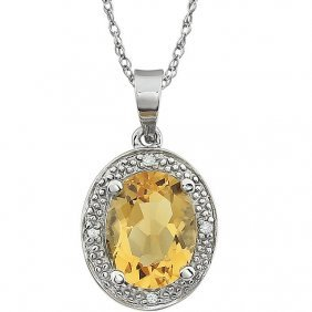 14kt White Citrine & .02 Ctw Diamond Necklace