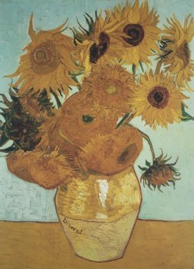 In The Manner Of Vincent Van Gogh. Sunflowers On Blue,