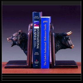 Bronze Bear & Bull Head Bookends