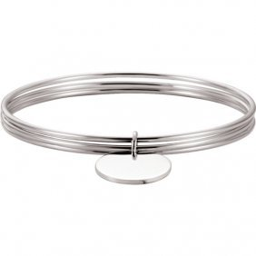 Sterling Silver Triple Bangle Bracelet With Circle
