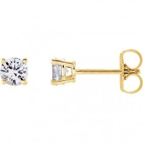 14kt Yellow 4mm Round White Sapphire Earrings