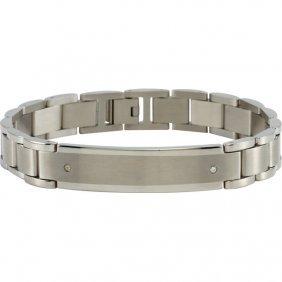 Stainless Steel Identity Bracelet With .04ctw