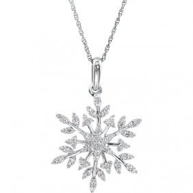 """Sterling Silver Cubic Zirconia Snowflake 18"""" Necklace"""