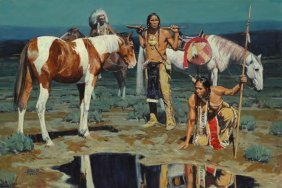 David Mann - Shod Horses And Boot Prints