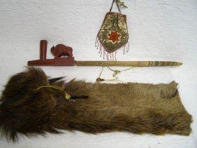 Native American Made Pipestone Buffalo Pipe With