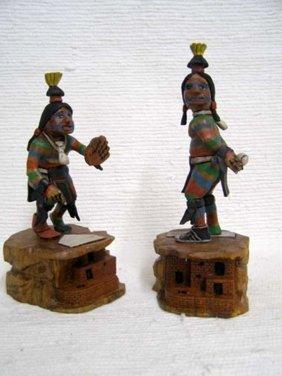 Native American Hopi Carved Clown Katsina Dolls Playing