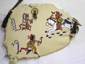 Native American Made Sioux And Pawnee Fight Painted