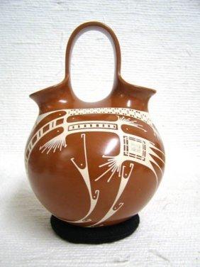 Mata Ortiz Handbuilt And Handpainted Wedding Vase