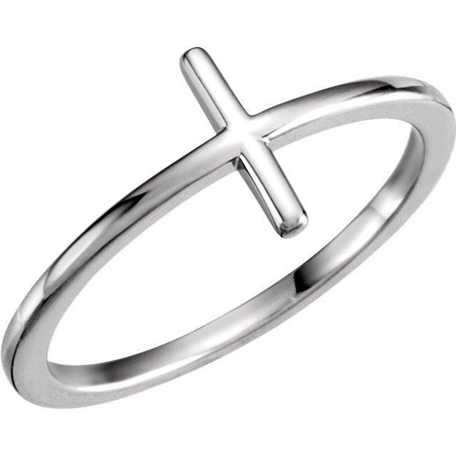 14kt White Sideways Cross Ring