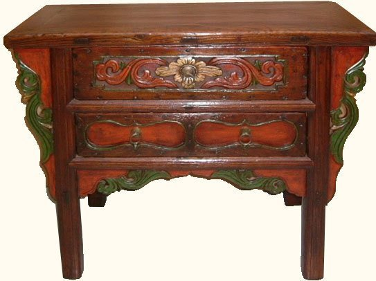 Two Drawers Carved Chinese Antique Cabinet.