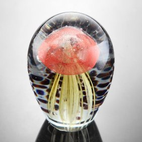 Art Glass Red And Gold Jellyfish Glow In The Dark