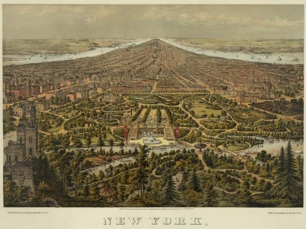 Unknown - Birds-eye View Of Manhattan, New York