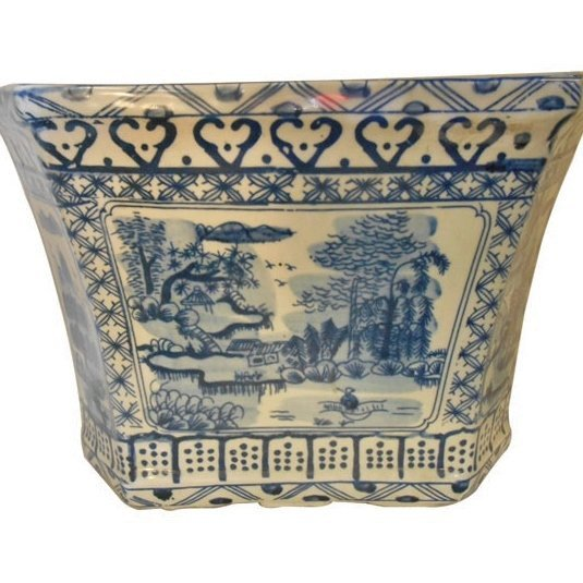 "13"" Blue and White Hexagonal Porcelain Planter"