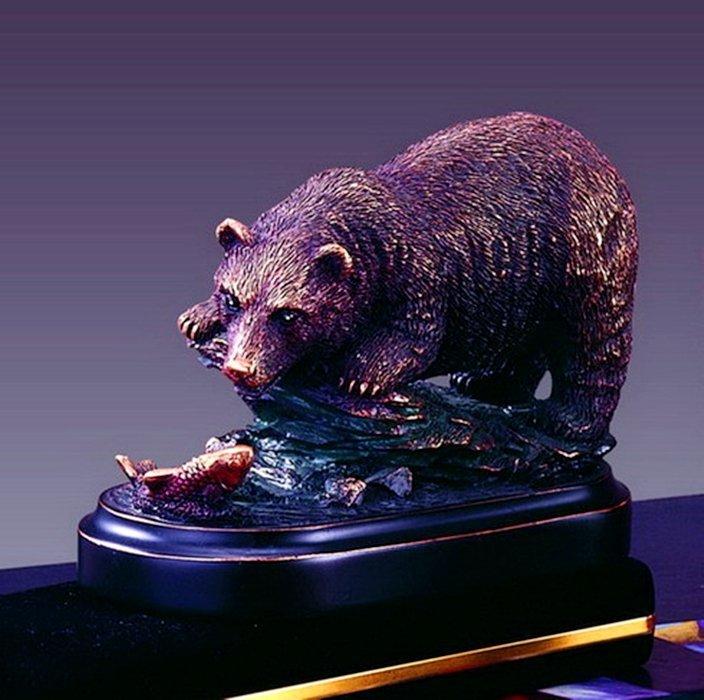Bronze Bear & Fish