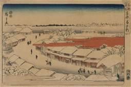 Ando Hiroshige - Morning Snow At Yoshiwara