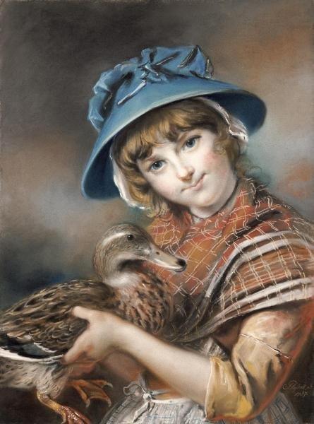 John Russell - A Market Girl Holding A Mallard Duck