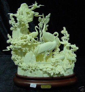 Hand Carved Bone Cranes Mountain
