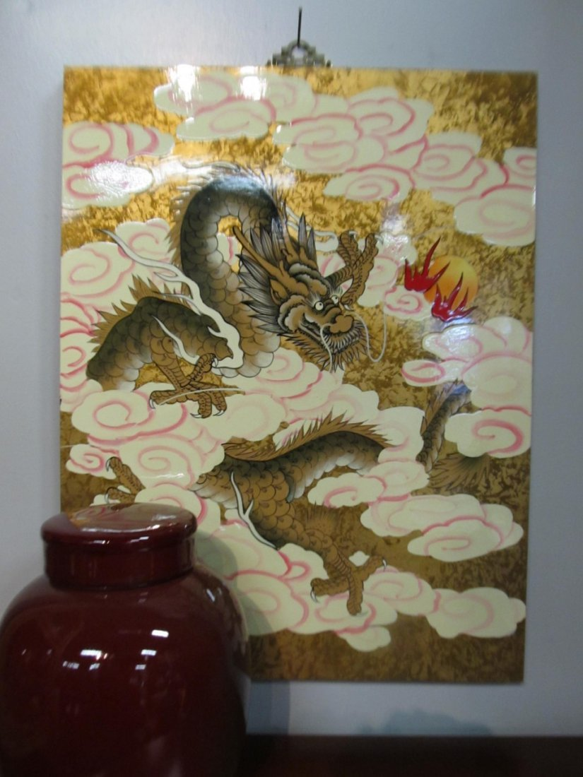 Hand Painted Goldleaf Dragon Wall Panel