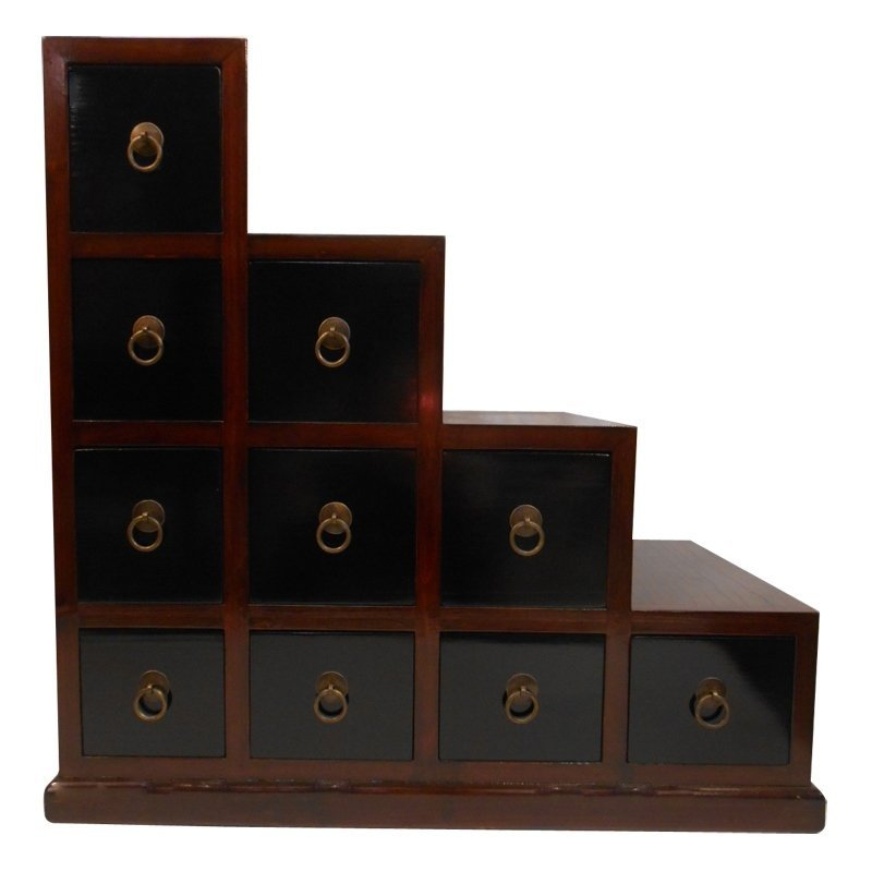 """24 """"H. Double Sided Two Tone Asian Elmwoood Step Tansu"""