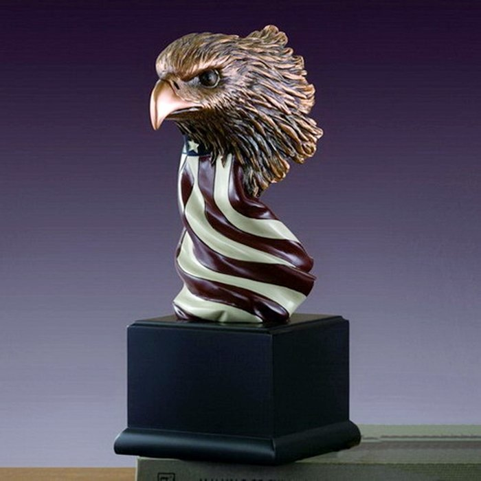 Bronze Eagle Head w/American Flag