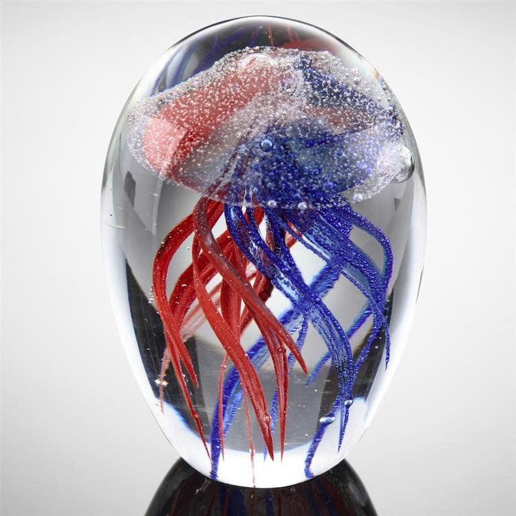 Art Glass Red and Blue Jellyfish Glow in the Dark
