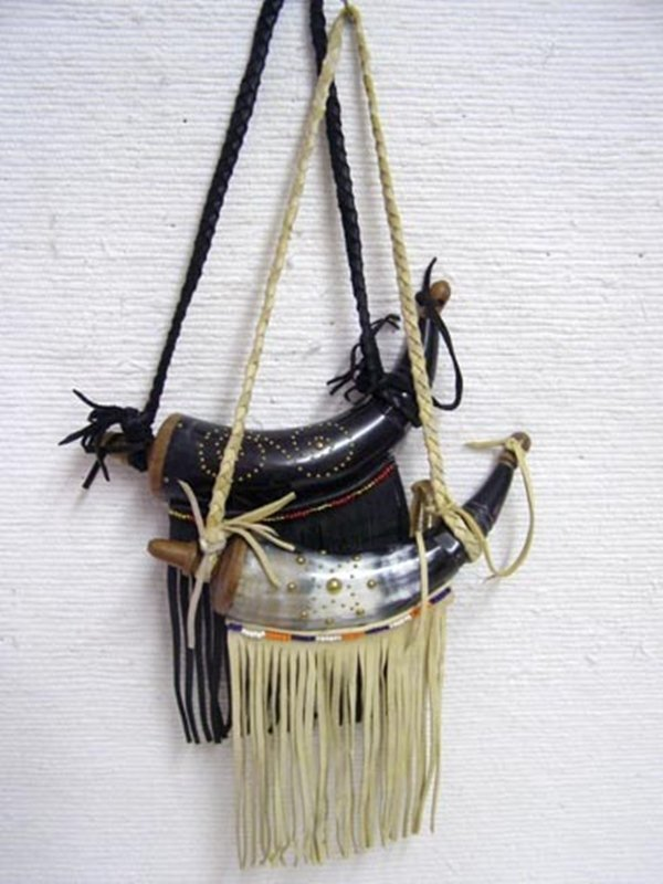 Native American Cherokee Decorated Powder Horn