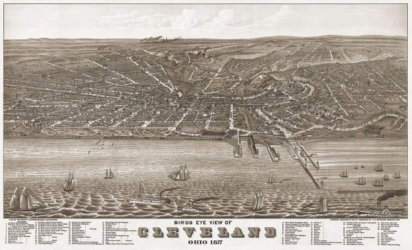 A. Ruger.  Bird's Eye View of Cleveland, Ohio, 1877