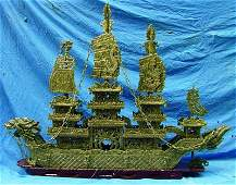 "Huge 60"" Green Jade Dragon Boat"