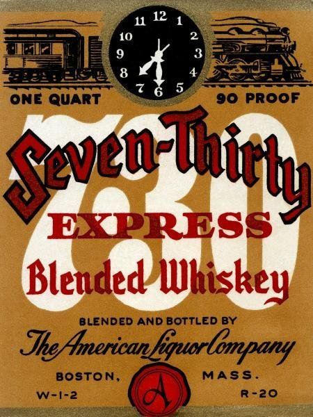 Vintage Booze Labels - Seven-thirty Express Blended