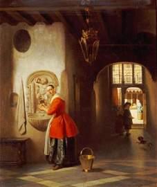 Hubertus Van Hove - A Maid In A Hallway