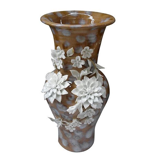 Caramel Blossom Ceramic Vase