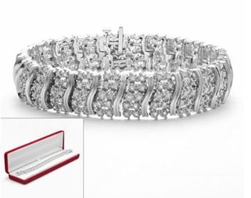 Sterling Silver 2-ct. T.W. Diamond Curved Link Bracelet