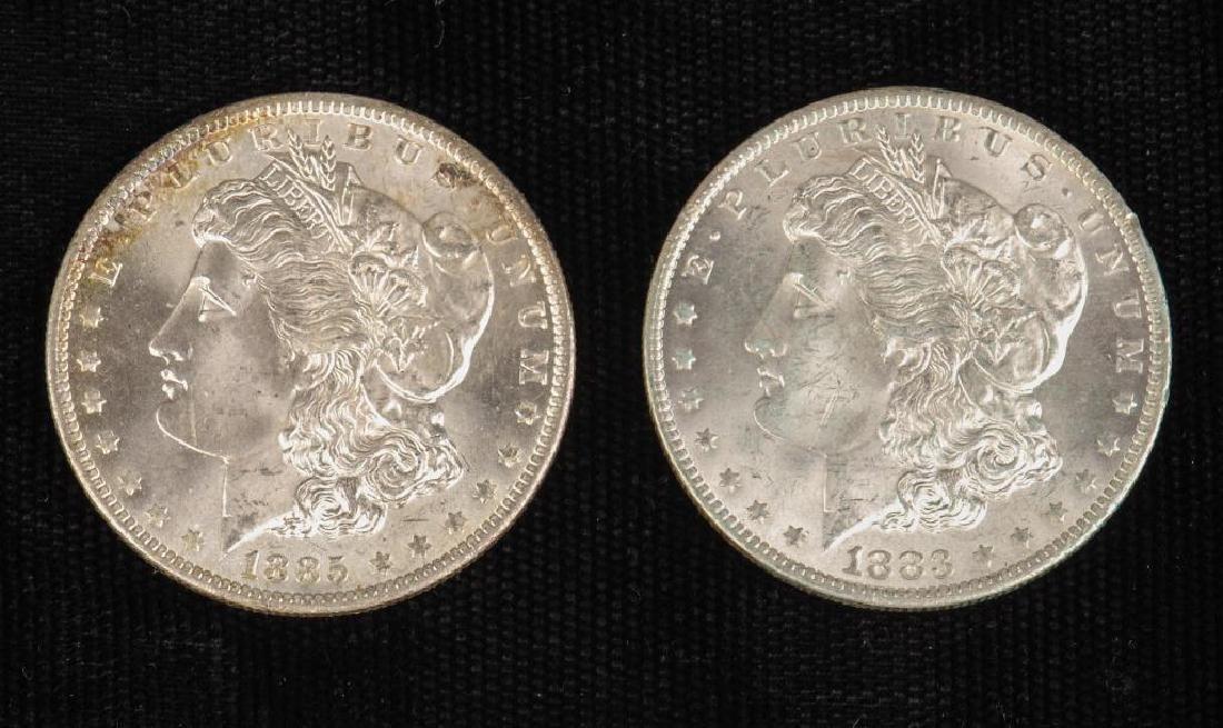 (2) MORGAN SILVER DOLLARS 1883-O and 1885-O
