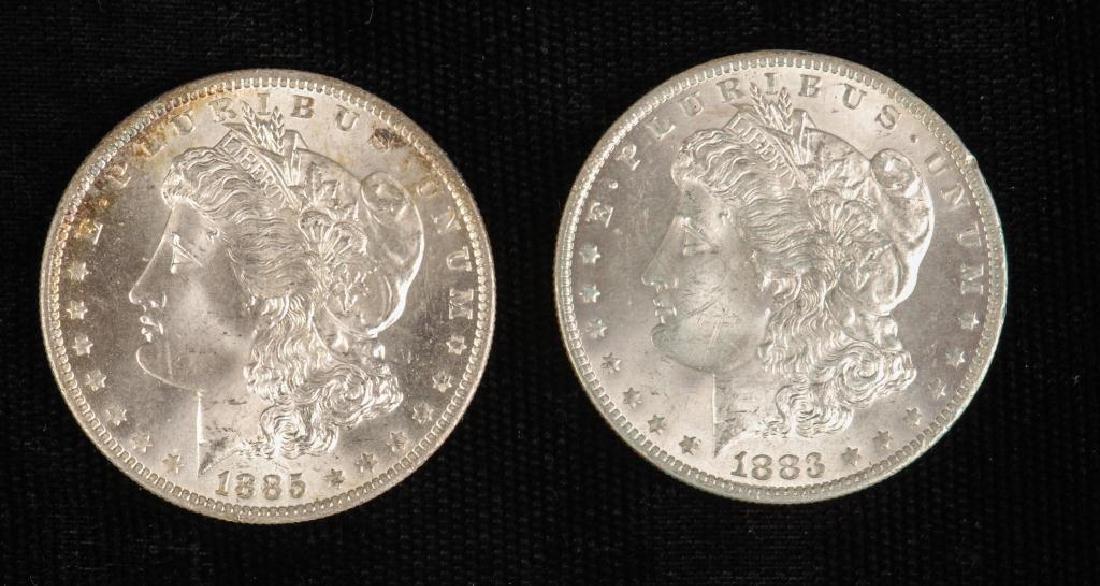 (2) MORGAN SILVER DOLLARS 1883-O and 1885-O - 2