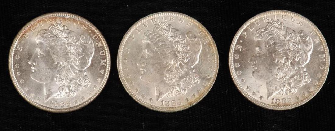 (3) MORGAN SILVER DOLLARS 1883-O and 1886