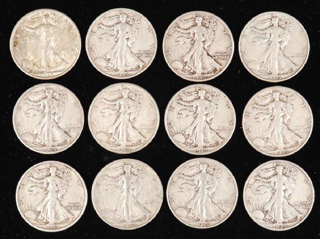 (12) WALKING LIBERTY HALF DOLLARS 1930's-1940's