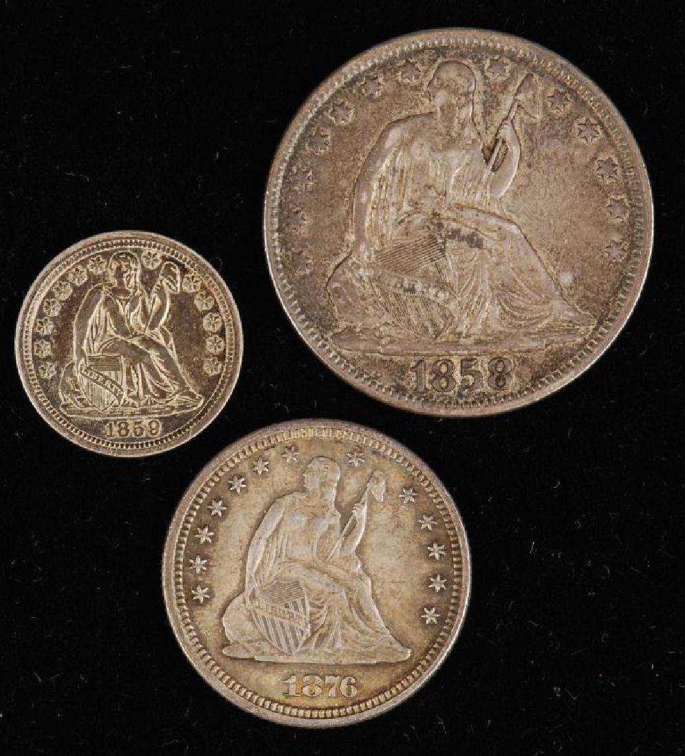 SEATED LIBERTY DIME, QUARTER AND HALF