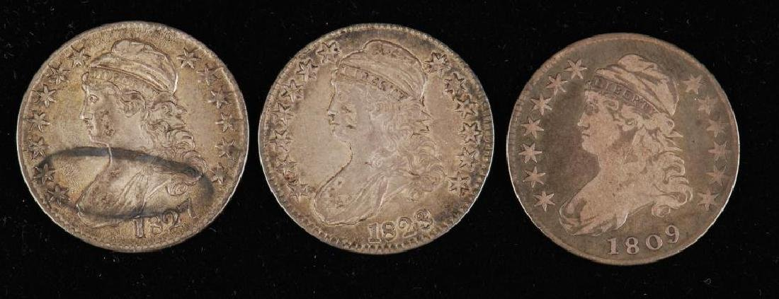 (3) CAPPED BUST SILVER HALF DOLLAR 1809,1823,1827